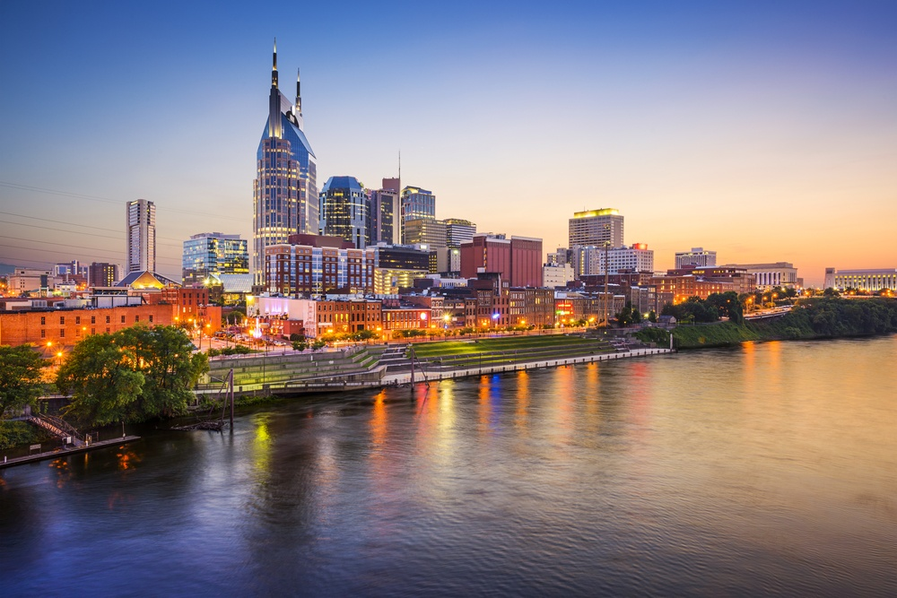 Nashville, Tennessee, USA downtown skyline on the Cumberland River..jpeg