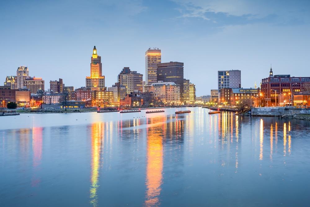 Providence, Rhode Island, USA city skyline on the Providence River at twilight..jpeg